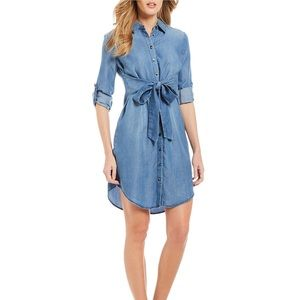 NWT Cremieux Tie Front Chambray Benjamin Dress M